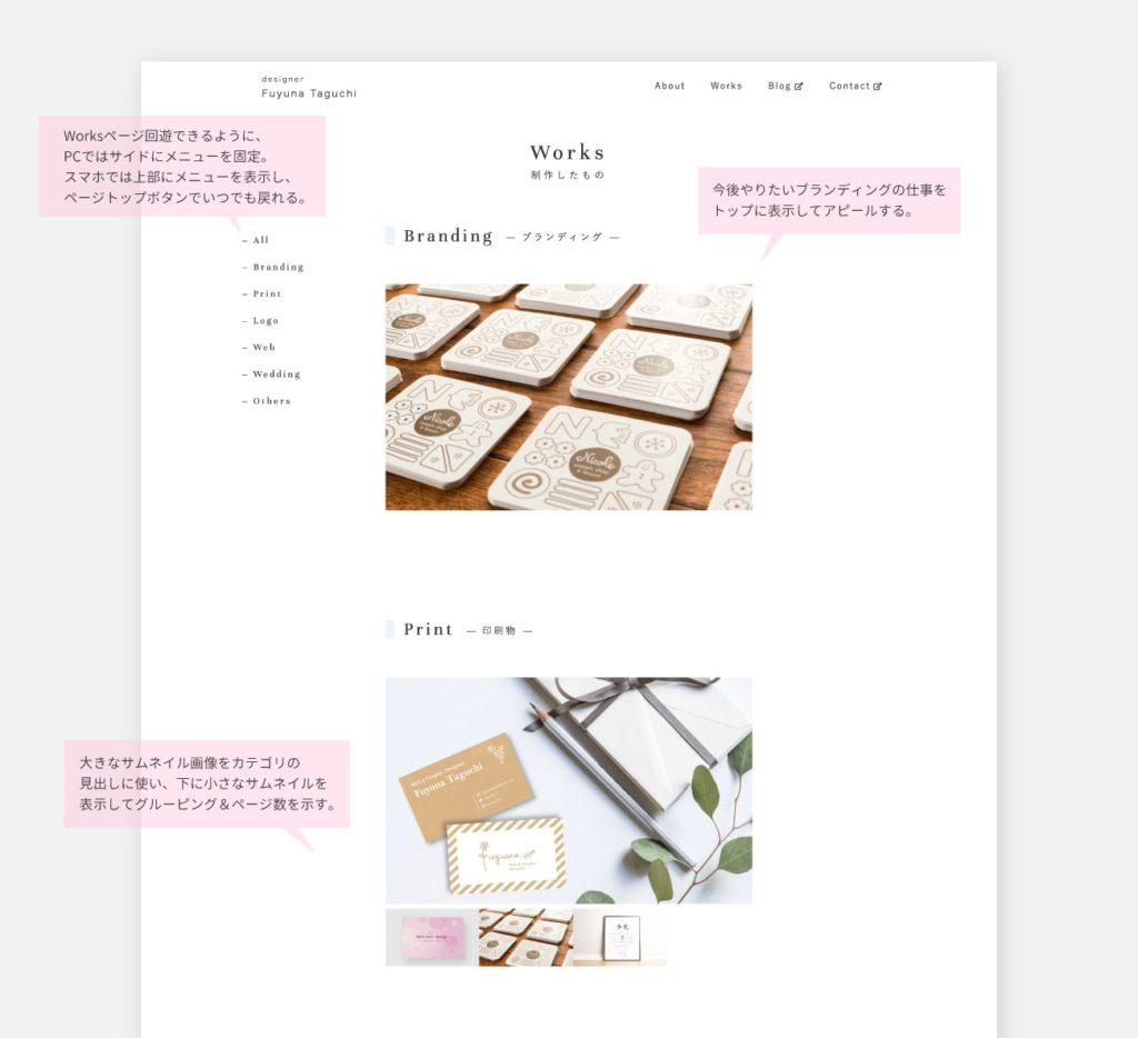 Worksページ|ポートフォリオの作り方