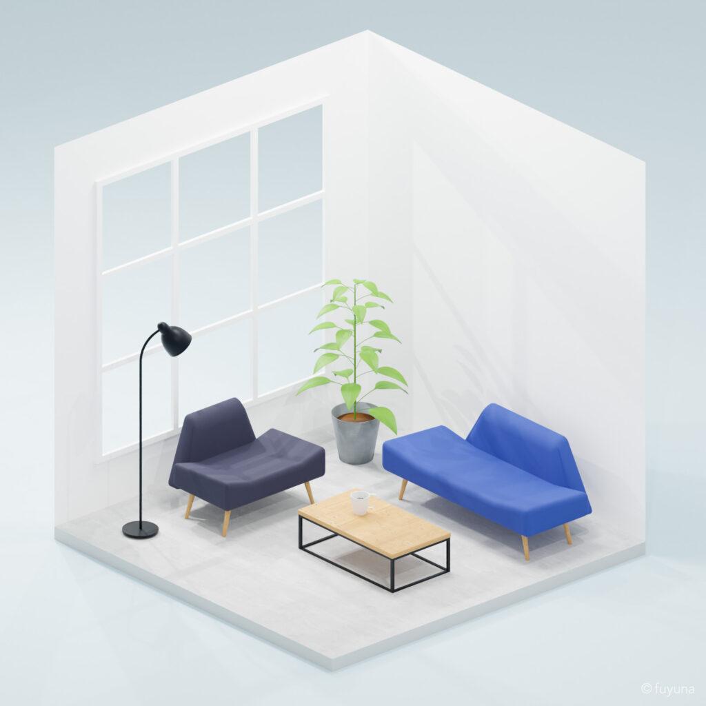 Blenderでモデリングした小さな部屋(クールver.)