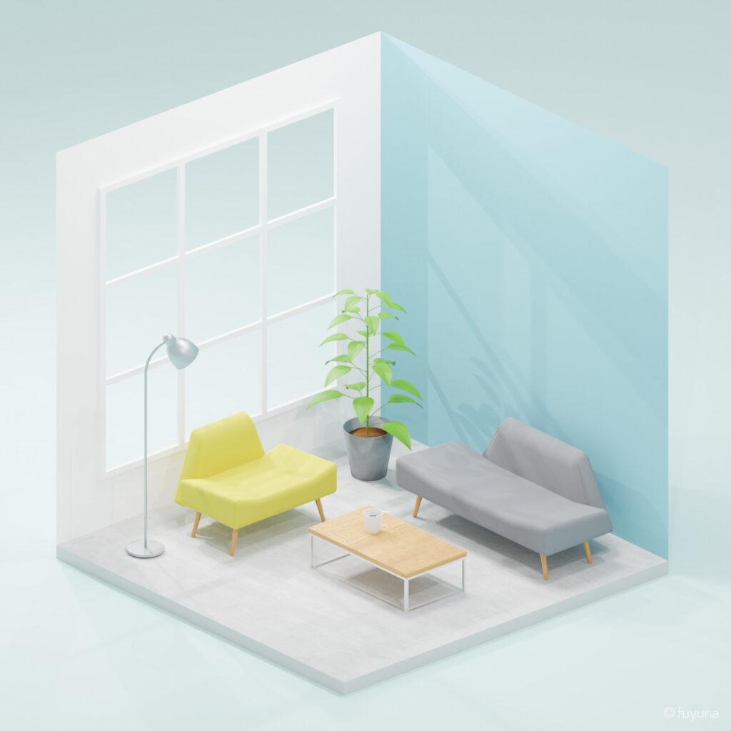 Blenderでモデリングした小さな部屋(フレッシュver.)
